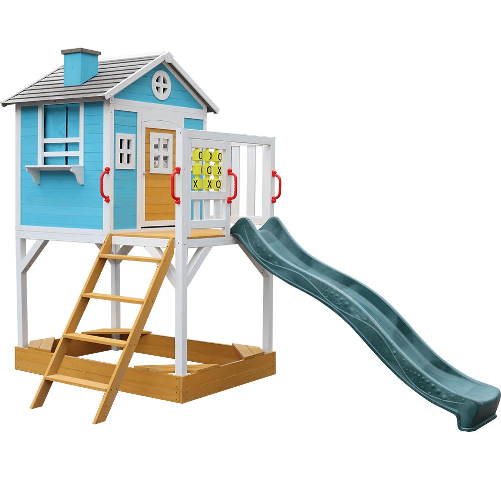 Drevený záhradný domček pre deti so šmykľavkou a pieskoviskom