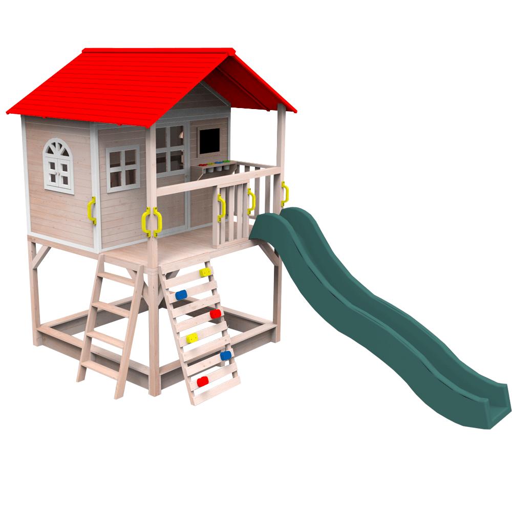 Drevený záhradný domček so šmykľavkou