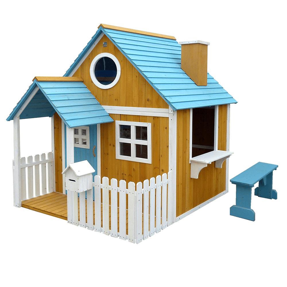 Drevený záhradný domček s lavičkou